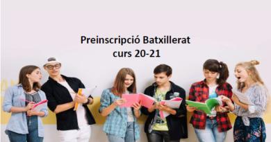 Preinscripció Batxillerat curs 20-21