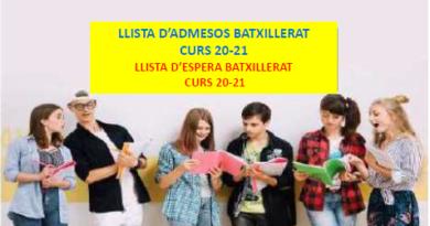 Llistes Batxillerat curs 20-21